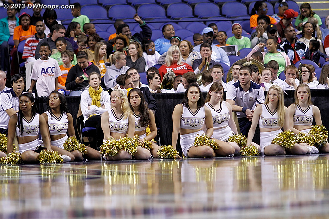 Unhappy cheerleaders as Georgia Tech is down 15 with time running low  - GT Players:  Georgia Tech Cheerleaders