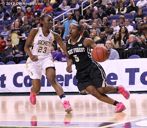 ACCWBBDigest Photo  - GT Players: #23 Sydney Wallace - WAKE Tags: #5 Chelsea Douglas