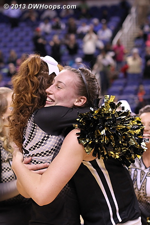 Postgame hug.  Wake, we'll see you Friday!  - WAKE Players:  Wake Forest Cheerleaders, #15 Millesa Calicott