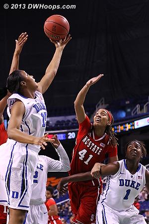 Jackson snares a defensive rebound as Daniel and Williams battle  - Duke Tags: #1 Elizabeth Williams , #15 Richa Jackson - NCSU Players: #41 Lakeesa Daniel