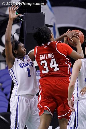 Foul on Williams  - Duke Tags: #1 Elizabeth Williams  - NCSU Players: #34 Markeisha Gatling