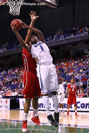 Williams strains to the goal  - Duke Tags: #1 Elizabeth Williams  - NCSU Players: #34 Markeisha Gatling