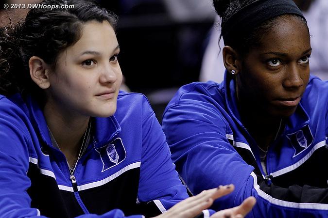 On the Duke bench  - Duke Tags: #25 Katie Heckman, #30 Amber Henson