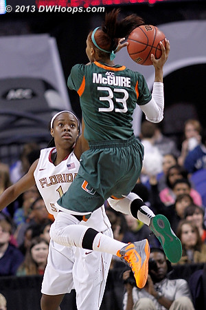 ACCWBBDigest Photo  - MIA Players: #33 Suriya McGuire - FSU Tags: #1 Morgan Toles