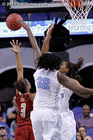 After the Rolle foul  - UNC Players: #32 Waltiea Rolle - BC Tags: #3 Tessah Holt
