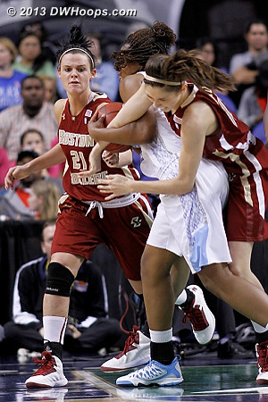 This didn't look like it would end well...  - UNC Players: #34 Xylina McDaniel - BC Tags: #21 Kristen Doherty, #13 Alexa Coulombe