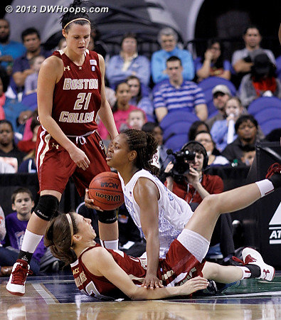 ...and it didn't. Ouch!  - UNC Players: #34 Xylina McDaniel - BC Tags: #21 Kristen Doherty, #13 Alexa Coulombe