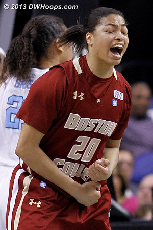 Brown celebrates the hoop and harm.  - BC Players: #20 Shayra Brown