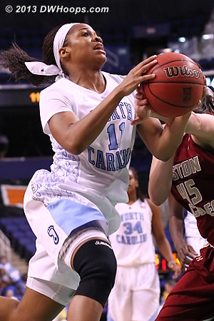 Rountree rejected by Zenevitch (see three hands on the ball?)  - UNC Players: #11 Brittany Rountree - BC Tags: #45 Katie Zenevitch
