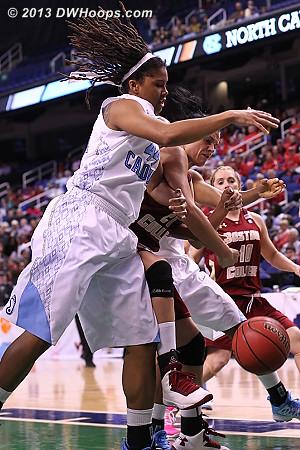 Tierra Ruffin-Pratt and Kristen Doherty strive for a loose ball  - UNC Players: #44 Tierra Ruffin-Pratt - BC Tags: #21 Kristen Doherty