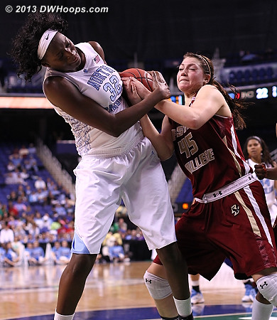 Tie-up  - UNC Players: #32 Waltiea Rolle - BC Tags: #45 Katie Zenevitch