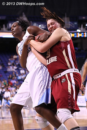 Good grief they're working hard for this one!  - UNC Players: #32 Waltiea Rolle - BC Tags: #45 Katie Zenevitch