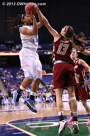 Refs are letting them play  - UNC Players: #44 Tierra Ruffin-Pratt - BC Tags: #13 Alexa Coulombe