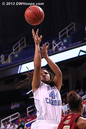 TRP hits with 7 seconds left in the half, giving UNC a 25-23 lead at the break  - UNC Players: #44 Tierra Ruffin-Pratt