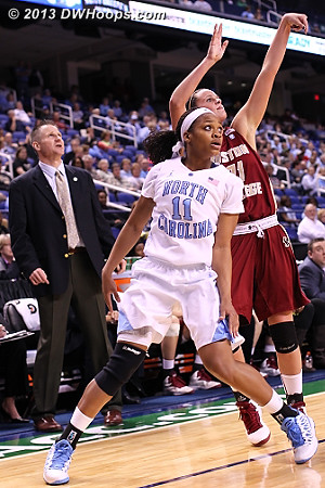 Doherty answers the TRP old fashioned three point play with a trey  - UNC Players: #11 Brittany Rountree - BC Tags: #21 Kristen Doherty