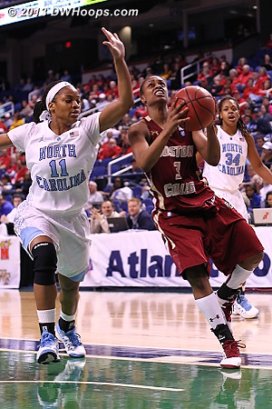 ACCWBBDigest Photo  - UNC Players: #11 Brittany Rountree - BC Tags: #3 Tessah Holt