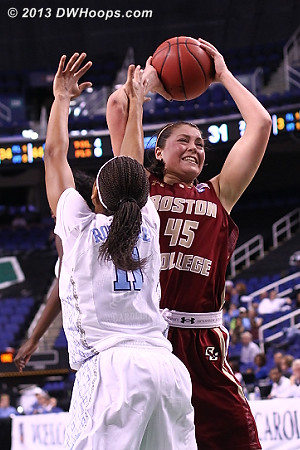 Refs are indeed letting them play  - UNC Players: #11 Brittany Rountree - BC Tags: #45 Katie Zenevitch