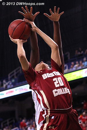 ...did happen (rejection by Rolle)  - UNC Players: #32 Waltiea Rolle - BC Tags: #20 Shayra Brown