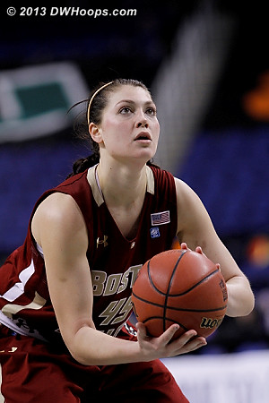 Zenevitch the second Eagle to hit one of two freebies. 43-40 Heels.  - BC Players: #45 Katie Zenevitch