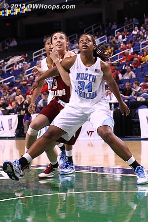 Hand of friendship  - UNC Players: #34 Xylina McDaniel - BC Tags: #13 Alexa Coulombe