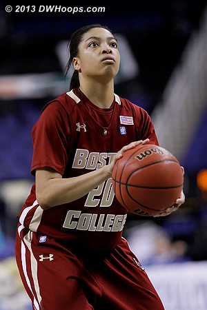 Brown broke the streak of BC free throw shooters making 1-2, hitting both.  Eagles trail 47-46 with 10:20 left.  - BC Players: #20 Shayra Brown