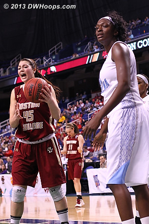 Foul #3 on Rolle, hoop and harm for Holt  - UNC Players: #32 Waltiea Rolle - BC Tags: #45 Katie Zenevitch