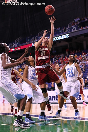 Doherty misses in the final half-minute with the Heels up 5  - BC Players: #21 Kristen Doherty