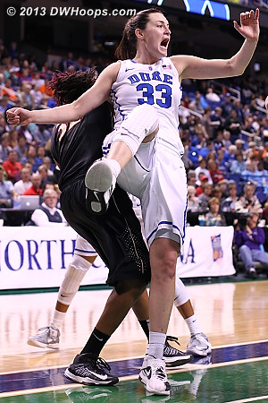 Peters loses her balance after Coleman stole a rebound  - Duke Tags: #33 Haley Peters - FSU Players: #32 Lauren Coleman