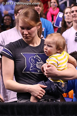 Duke Pep Band was almost too much for one young fan up front  - Duke Tags: Fans