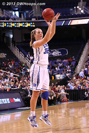 With the score tied at 55, it's Tricia Liston to the rescue with a Duke three  - Duke Tags: #32 Tricia Liston