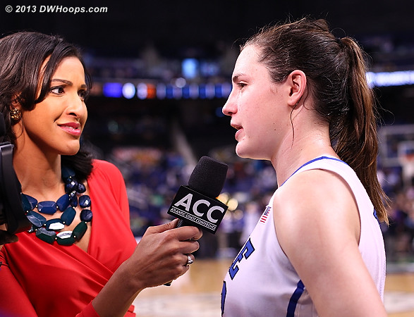 Haley's turn to interview with Kristy under TV lights that might be used to keep food warm later  - Duke Tags: #33 Haley Peters