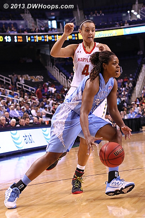 ACCWBBDigest Photo  - UNC Players: #34 Xylina McDaniel - MD Tags: #4 Malina Howard