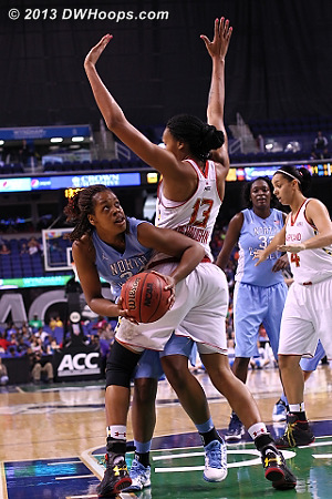 ACCWBBDigest Photo  - UNC Players: #34 Xylina McDaniel - MD Tags: #13 Alicia DeVaughn