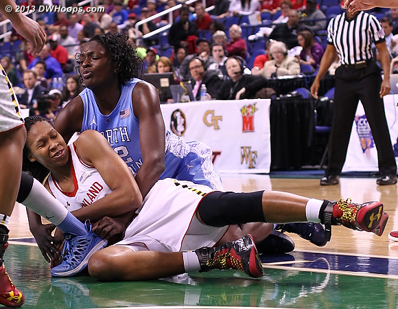 ACCWBBDigest Photo  - UNC Players: #32 Waltiea Rolle - MD Tags: #13 Alicia DeVaughn