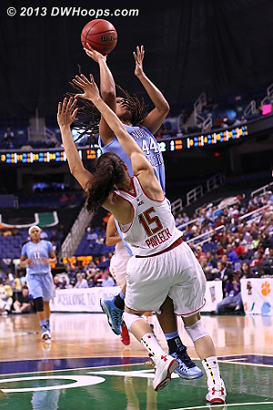 Foul on Pavlech  - UNC Players: #44 Tierra Ruffin-Pratt - MD Tags: #15 Chloe Pavlech