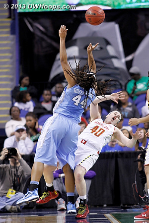 Key Sequence: TRP charges  - UNC Players: #44 Tierra Ruffin-Pratt - MD Tags: #40 Katie Rutan