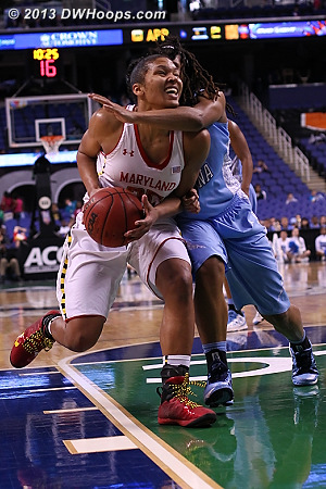 Key Sequence: TRP foul #4 came on the ensuing Maryland possession  - UNC Players: #44 Tierra Ruffin-Pratt - MD Tags: #25 Alyssa Thomas