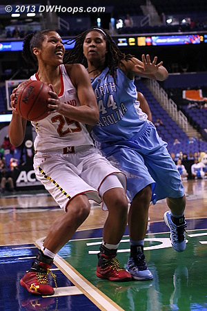 After the foul  - UNC Players: #44 Tierra Ruffin-Pratt - MD Tags: #25 Alyssa Thomas