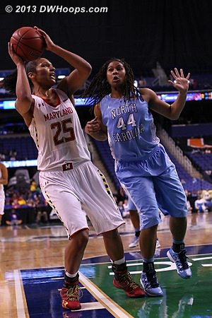 ACCWBBDigest Photo  - UNC Players: #44 Tierra Ruffin-Pratt - MD Tags: #25 Alyssa Thomas