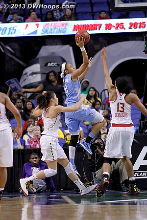 Coleman drove the baseline to score time after time against Maryland's exhausted guards.  - UNC Players: #2 Latifah Coleman - MD Tags: #15 Chloe Pavlech