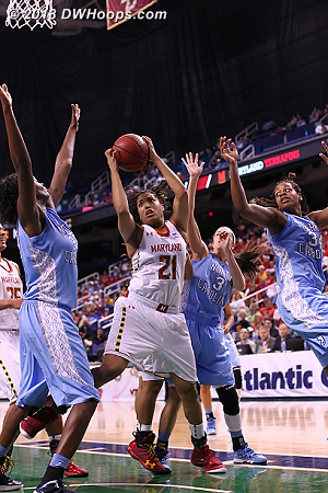 Hawkins got two cracks at the basket but could not score  - MD Players: #21 Tianna Hawkins