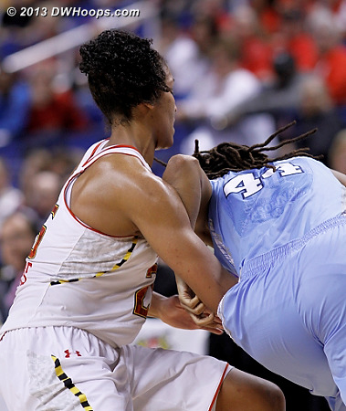 Thomas sends TRP (who had just thrown up off court) to the line with under a minute left  - UNC Players: #44 Tierra Ruffin-Pratt - MD Tags: #25 Alyssa Thomas
