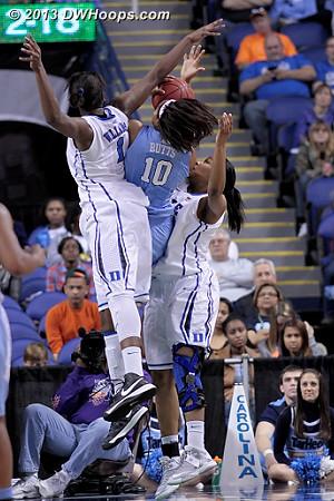 Danielle Butts sandwiched, Jackson gets the foul  - Duke Tags: #1 Elizabeth Williams , #15 Richa Jackson - UNC Players: #10 Danielle Butts