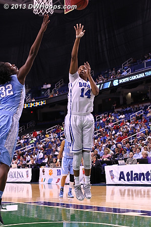 Johnson gives Duke their largest lead, 26 points.  The Carolina run would come next.  - Duke Tags: #14 Ka'lia Johnson
