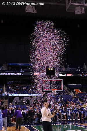 Confetti flies out as time expires