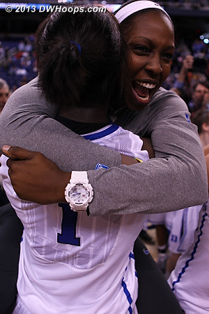 Chelsea Gray embraces Elizabeth Williams in the Duke celebration  - Duke Tags: #1 Elizabeth Williams , #12 Chelsea Gray