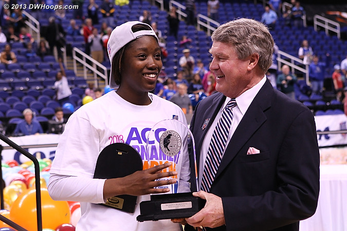 Alexis Jones, ACC Tournament MVP, joining Deanna Tate and Monique Currie as the only freshmen to earn that honor.  - Duke Tags: #2 Alexis Jones