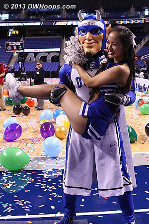 Who says Duke Cheer can't do lifts? :)  - Duke Tags: Duke Cheerleaders , Duke Blue Devil Mascot
