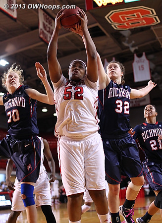 Kiana Evans and Becca Wan (32) compete for a rebound.  State outrebounded the Spiders 44-30.  - NCSU Players: #52 Kiana Evans