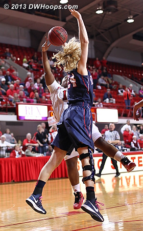 MGC draws a key foul from Samantha Bilney  - NCSU Players: #1 Myisha Goodwin-Coleman